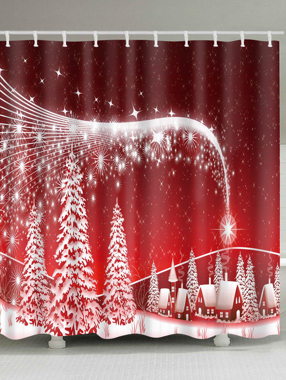 Christmas Snowscape Print Waterproof Polyester Bath CurtainHOME<br><br>Size: W59 INCH * L71 INCH; Color: RED; Products Type: Shower Curtains; Materials: Polyester; Style: Festival; Number of Hook Holes: W59 inch*L71 inch: 10; W71 inch*L71 inch: 12; W71 inch*L79 inch: 12; Package Contents: 1 x Shower Curtain 1 x Hooks (Set);