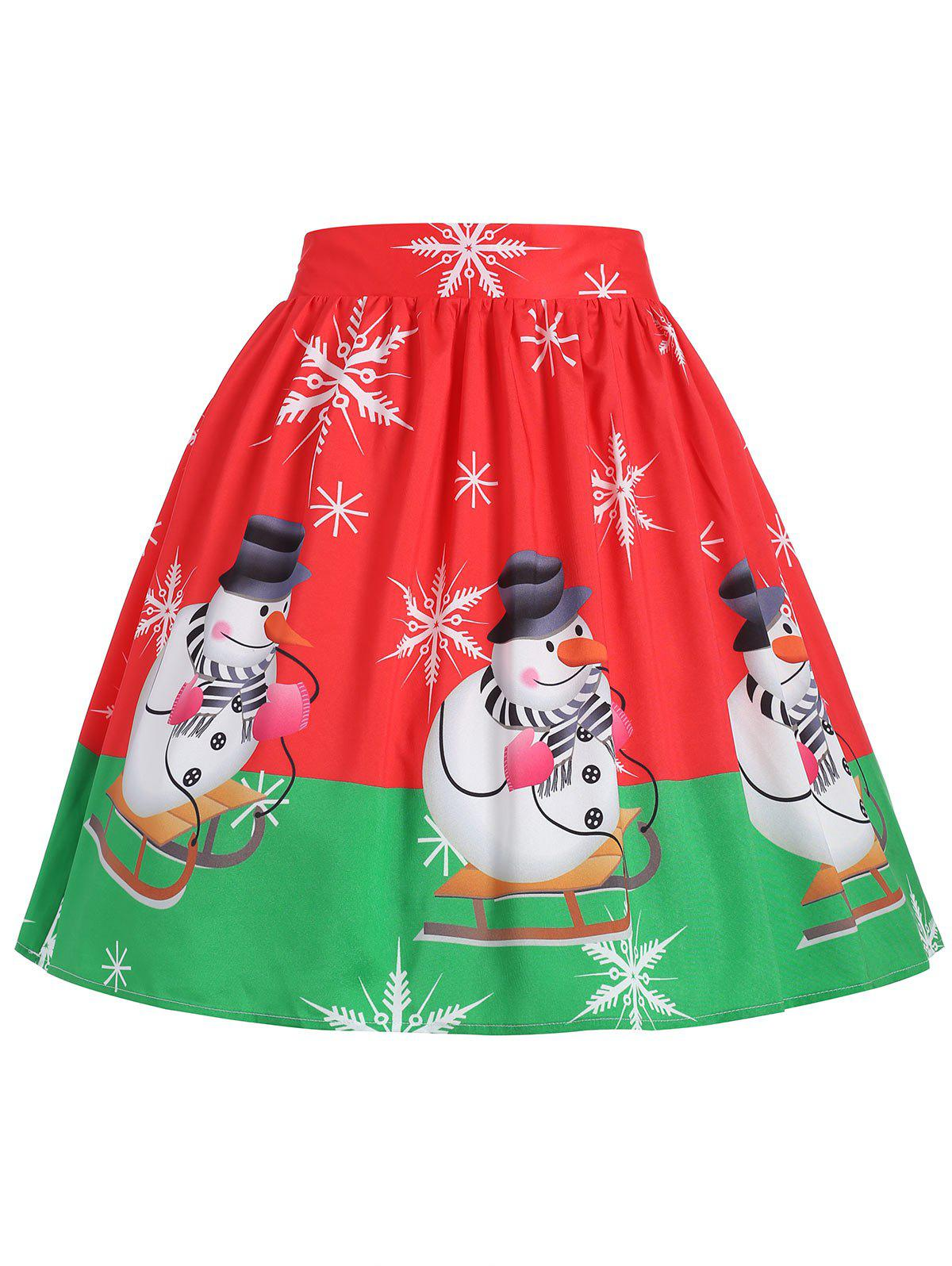 Christmas Snowflake Snowman Plus Size SkirtWOMEN<br><br>Size: XL; Color: RED; Material: Polyester; Length: Mini; Silhouette: A-Line; Pattern Type: Print; Season: Fall,Winter; With Belt: No; Weight: 0.1850kg; Package Contents: 1 x Skirt;