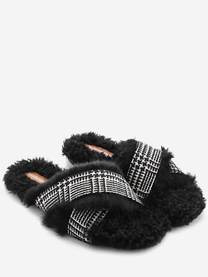 Sale Houndstooth Faux Fur Cross Strap Slippers