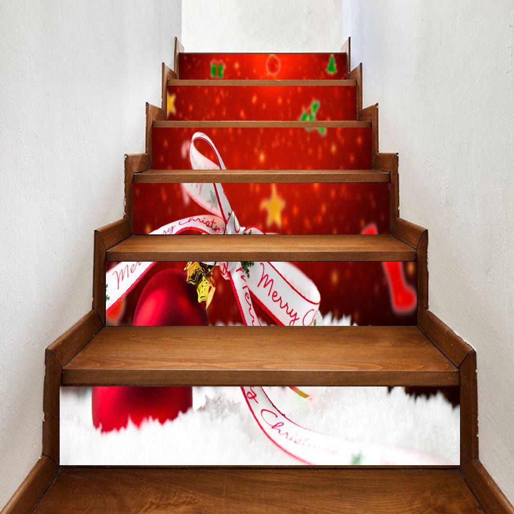 Affordable Christmas Bauble Bowknot Pattern Decorative Stair Stickers
