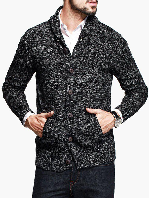 Latest Shawl Collar Woolen Yarn Button Up Cardigan