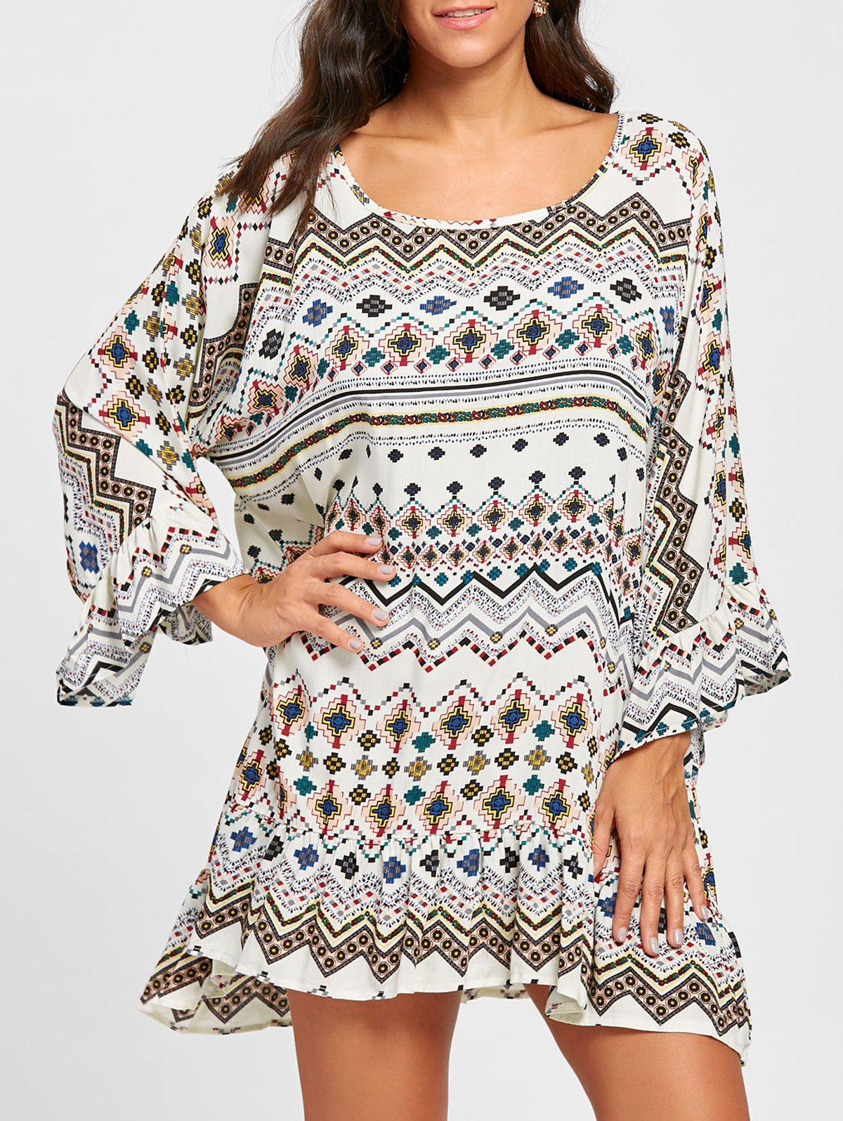 Discount Long Sleeve Geometric Print Shift Dress