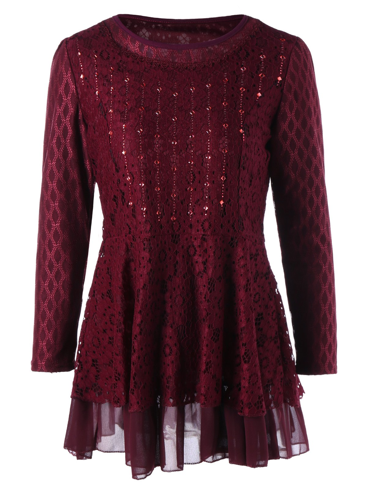 Plus Size Embellished Lace Layered Peplum TopWOMEN<br><br>Size: 5XL; Color: WINE RED; Material: Polyester,Spandex; Shirt Length: Long; Sleeve Length: Full; Collar: Round Neck; Style: Fashion; Season: Fall,Spring; Embellishment: Rhinestone; Pattern Type: Floral; Weight: 0.4100kg; Package Contents: 1 x Blouse;