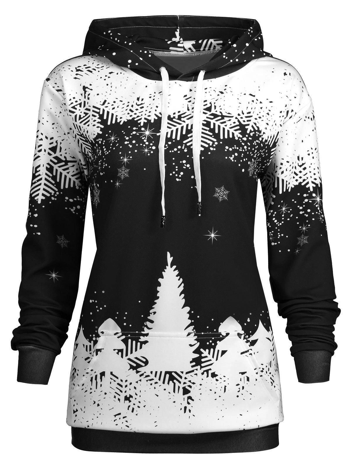 Plus Size Christmas Snowflake Tree Pocket HoodieWOMEN<br><br>Size: XL; Color: BLACK; Material: Polyester; Shirt Length: Regular; Sleeve Length: Full; Style: Fashion; Pattern Style: Print; Embellishment: Front Pocket; Season: Fall,Winter; Weight: 0.5200kg; Package Contents: 1 x Hoodie;