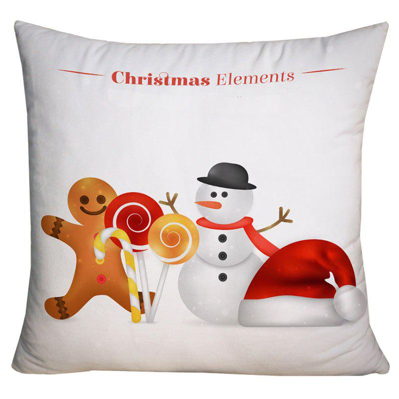 Best Christmas Snowman and Candy Print Decorative Pillow Case