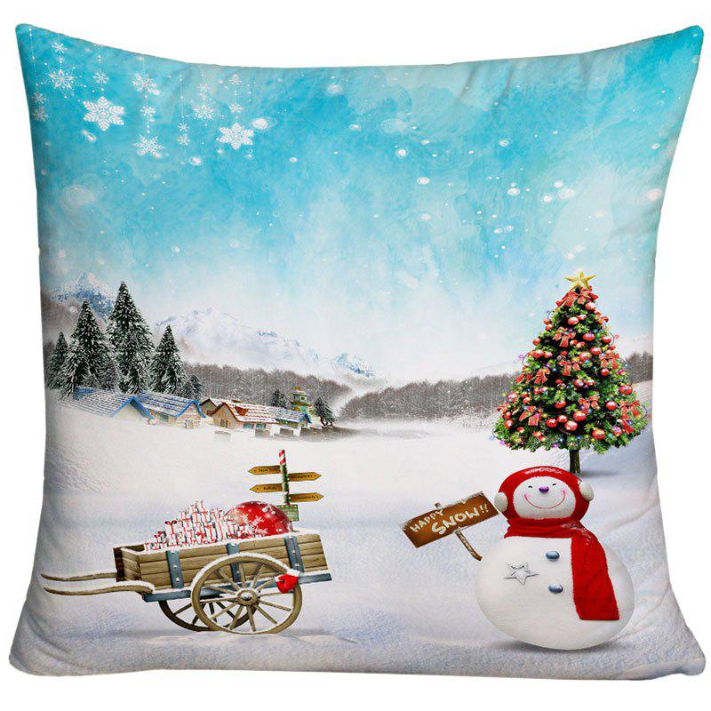 Christmas Snowscape Printed Decorative Throw Pillow CaseHOME<br><br>Size: W18 INCH * L18 INCH; Color: COLORMIX; Material: Polyester / Cotton; Pattern: Christmas Tree,Snowman; Style: Festival; Shape: Square; Weight: 0.1000kg; Package Contents: 1 x Pillowcase;