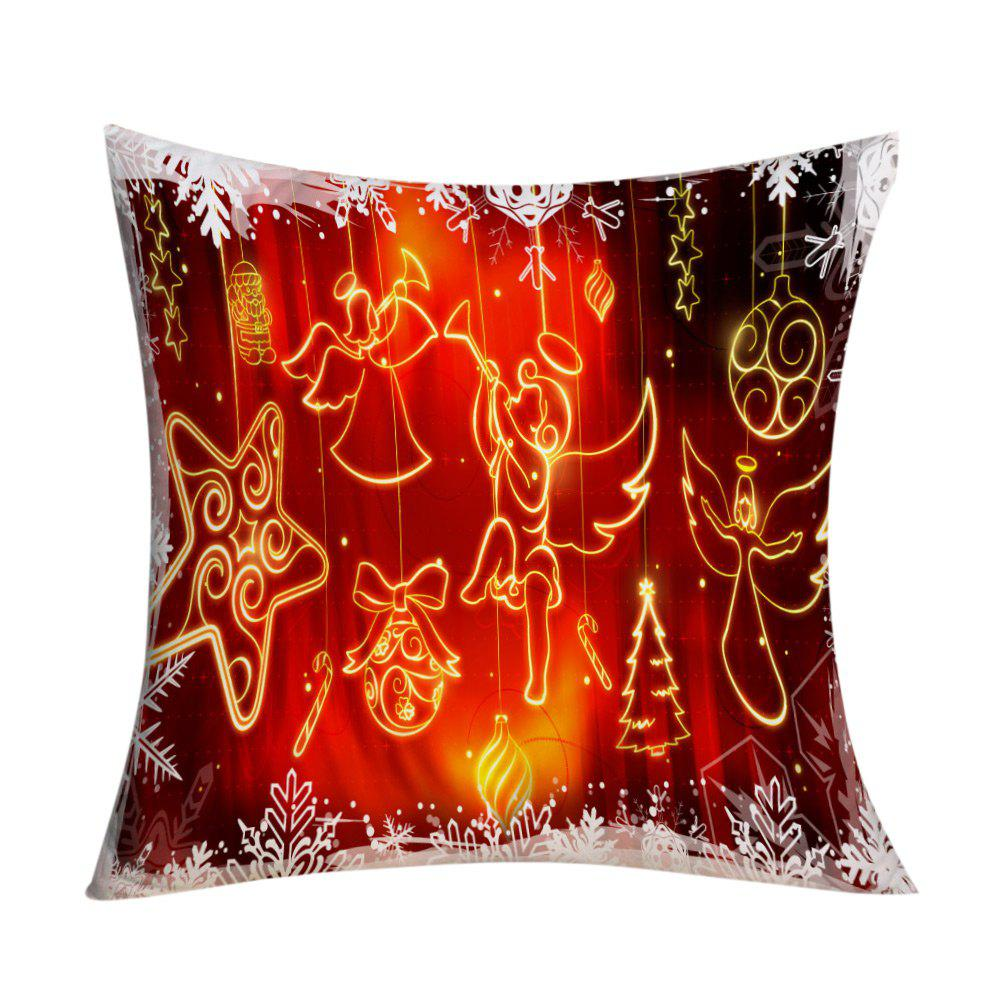 Christmas Angel Ornaments Printed Decorative Pillow CaseHOME<br><br>Size: W17.5 INCH * L17.5 INCH; Color: RED; Material: Polyester / Cotton; Pattern: Printed; Style: Festival; Shape: Square; Weight: 0.1000kg; Package Contents: 1 x Pillow Case;