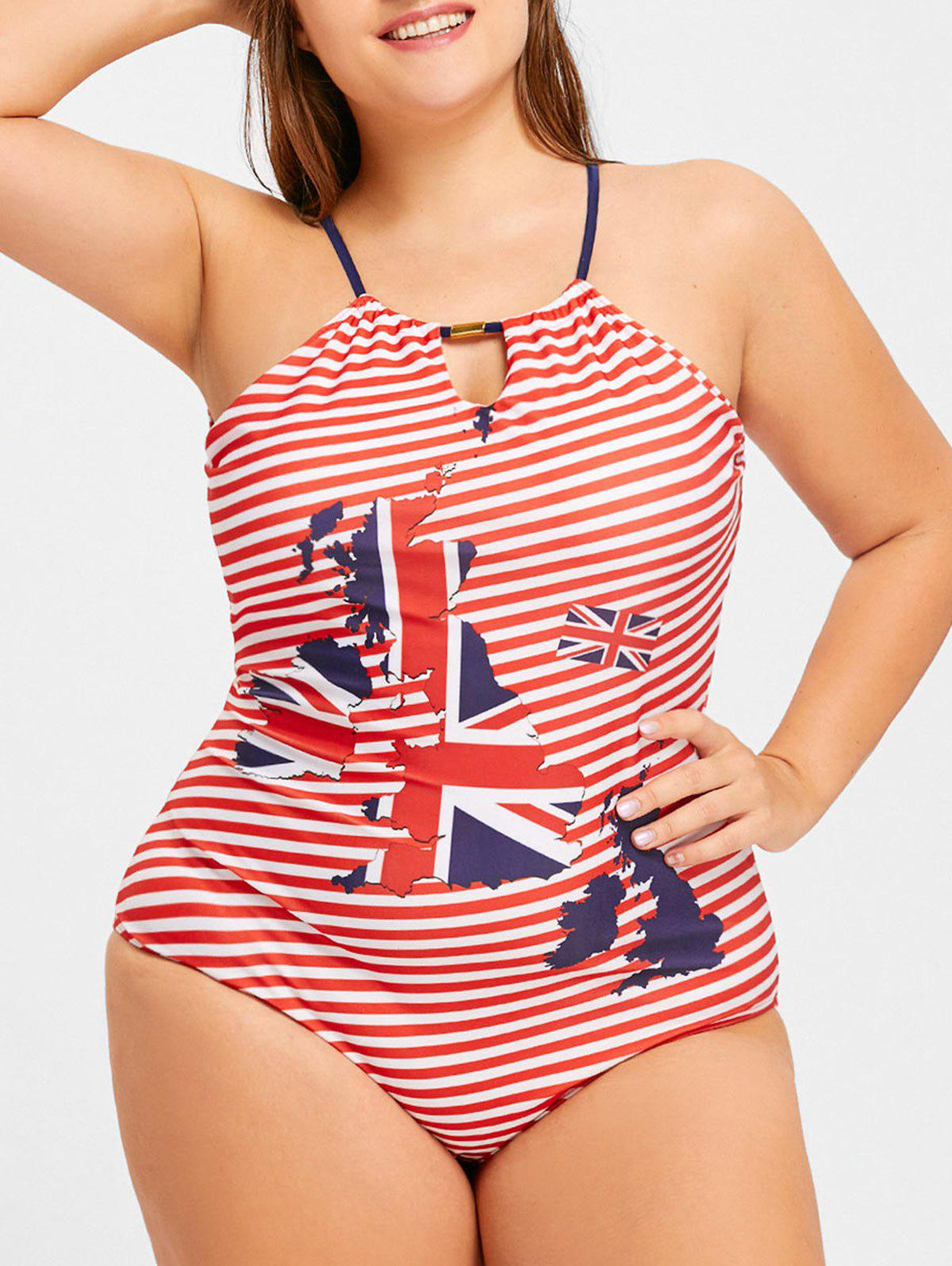 Buy Halter Striped Map Print Plus Size Swimwear