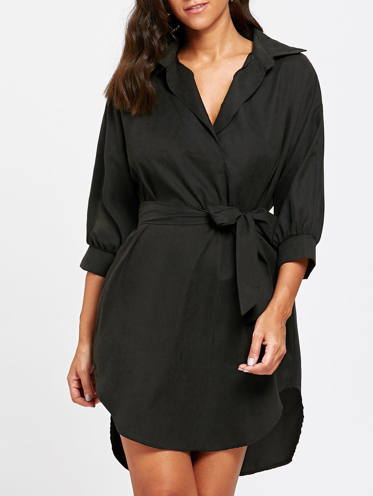 Trendy High Low Knee Length Belted Dress