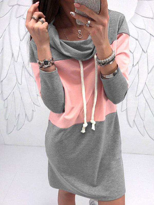 Color Lump Drawstring Hoodie DressWOMEN<br><br>Size: M; Color: PINK; Style: Casual; Material: Cotton,Polyester; Silhouette: Shift; Dresses Length: Mini; Neckline: Hooded; Sleeve Length: Long Sleeves; Pattern Type: Others; With Belt: No; Season: Fall,Winter; Weight: 0.3800kg; Package Contents: 1 x Dress; Occasion: Casual,Going Out,Outdoor;