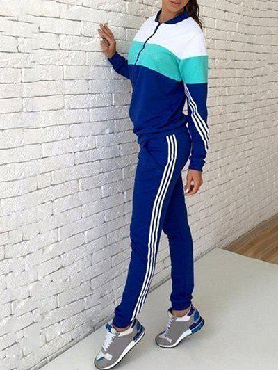 New Zipper Color Block Stripe Sweatshirt Suits
