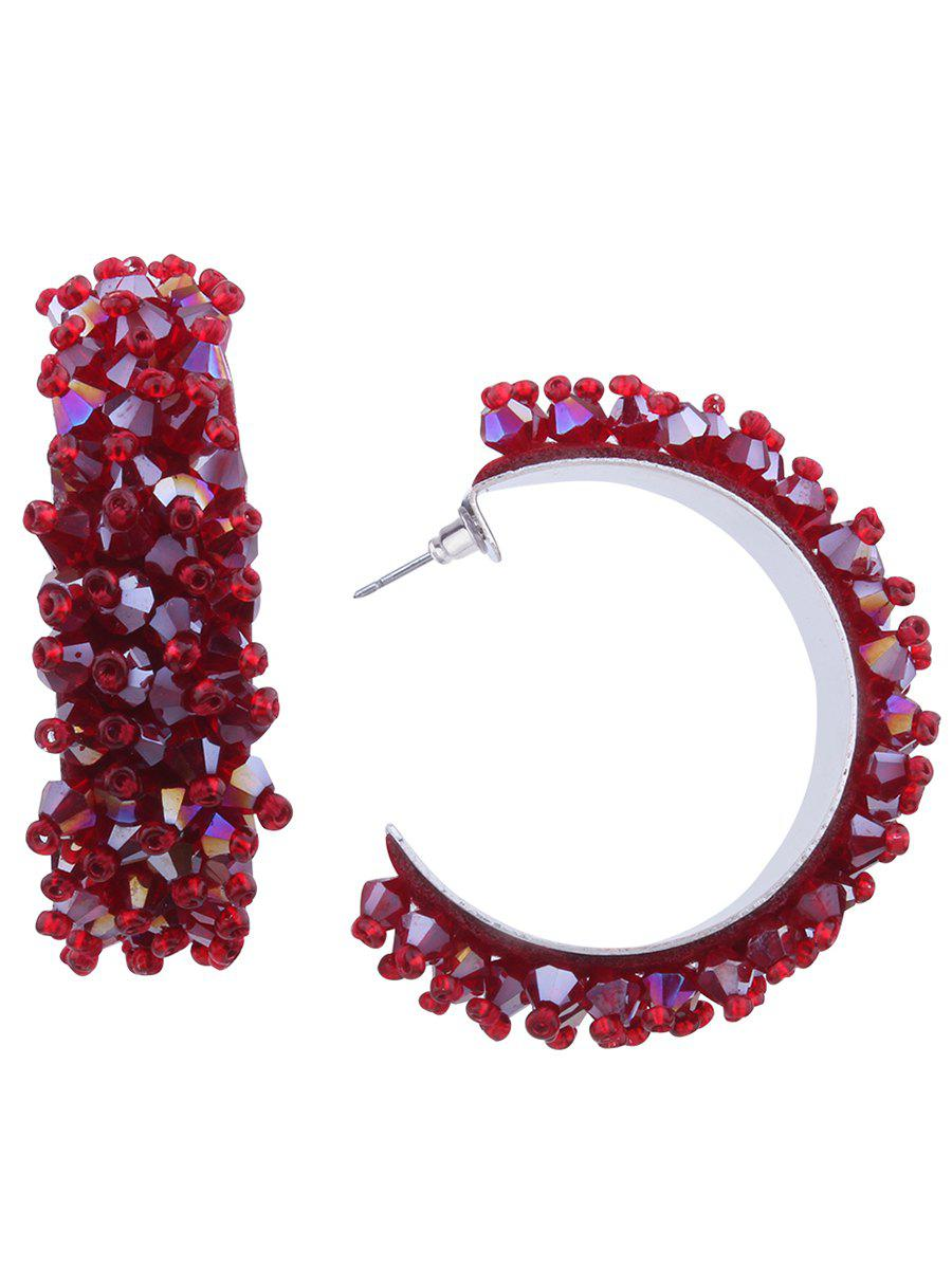 Fancy Faux Crystal Half Circle Beaded Earrings