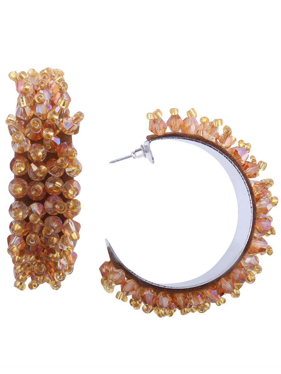 Sale Faux Crystal Half Circle Beaded Earrings
