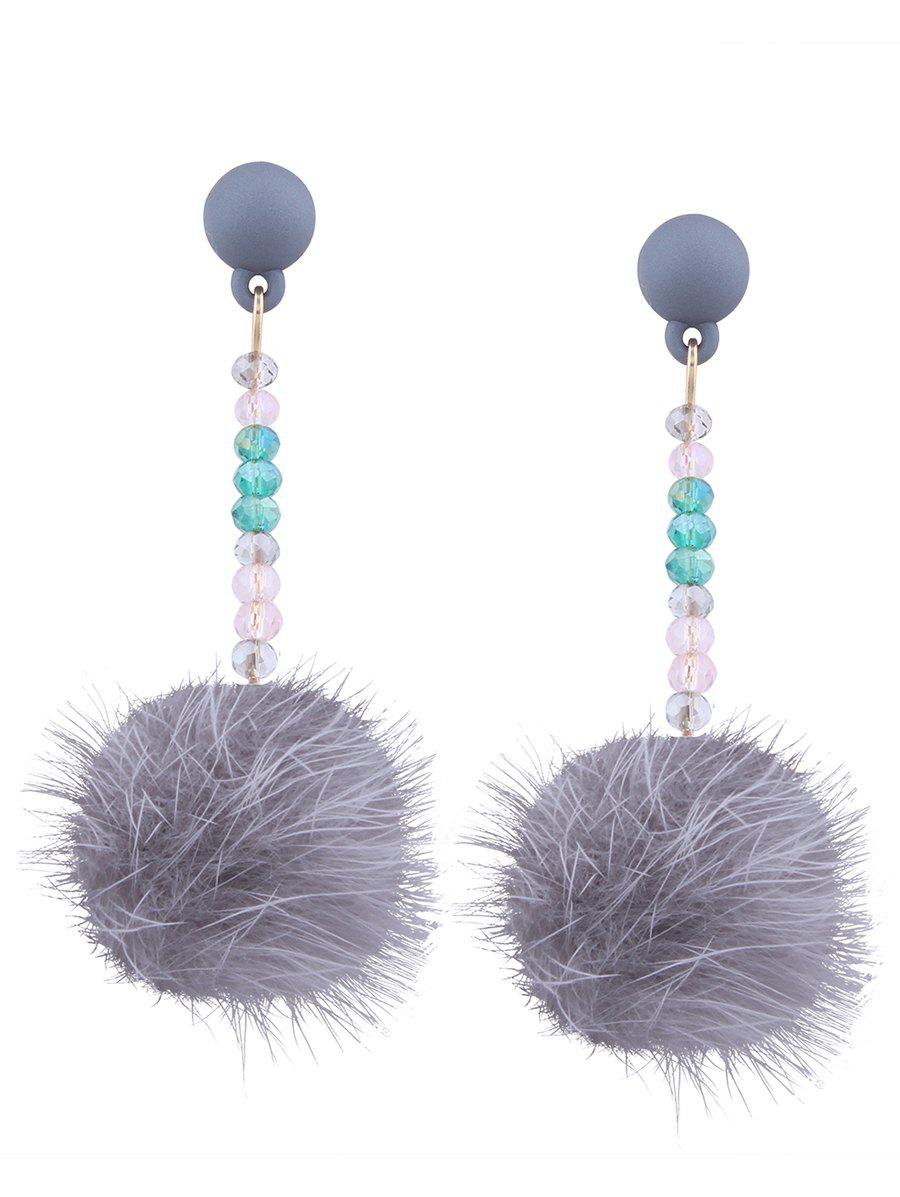 Store Artificial Fur Ball Beaded Drop Earrings