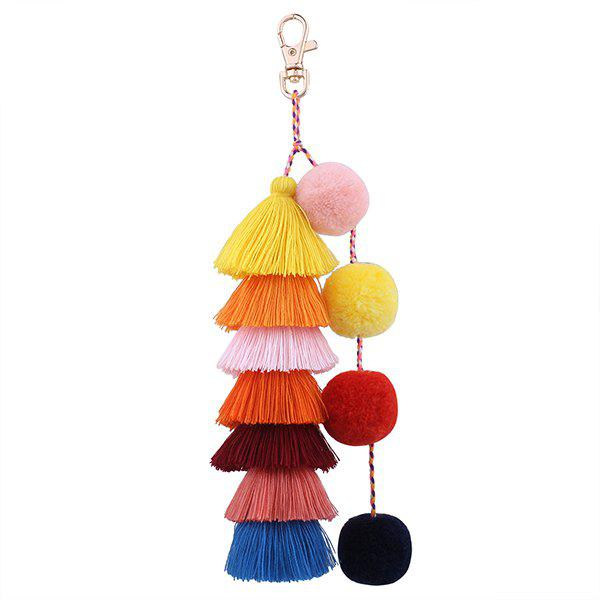 Chic Layered Fuzzy Ball Tassel Keychain