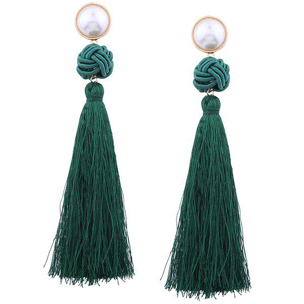 Unique Faux Pearl Tassel Rope Knot Earrings