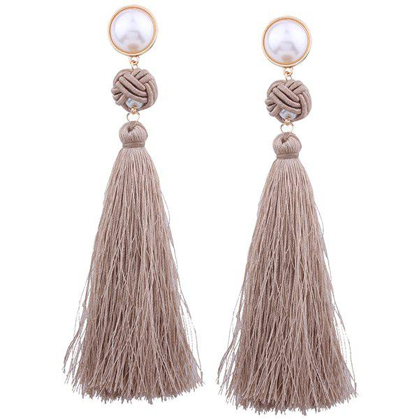 Outfit Faux Pearl Tassel Rope Knot Earrings