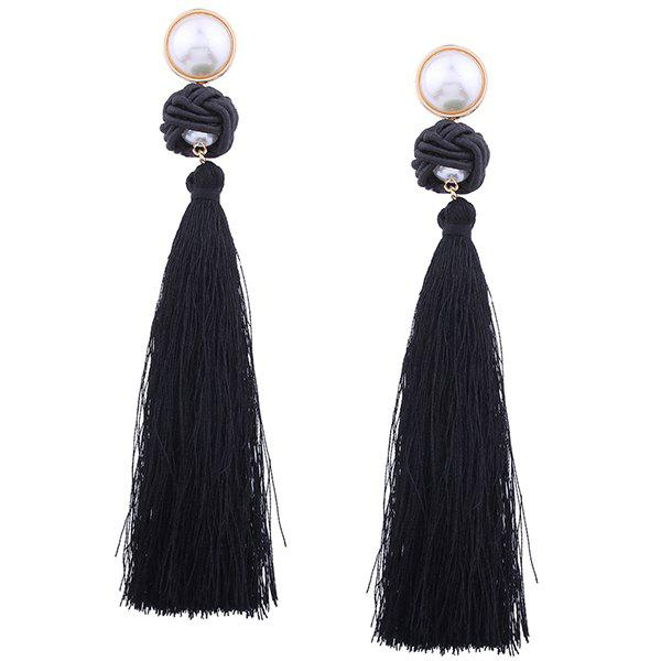 Fancy Faux Pearl Tassel Rope Knot Earrings
