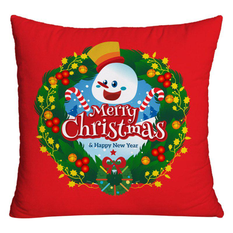 Best Merry Christmas Wreath Printed Decorative Pillow Case
