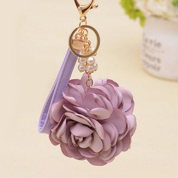 Chic Faux Pearl Vintage Flower Keychain