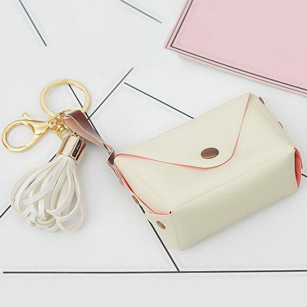 Discount Cute Faux Leather Tassel Bag Keychain