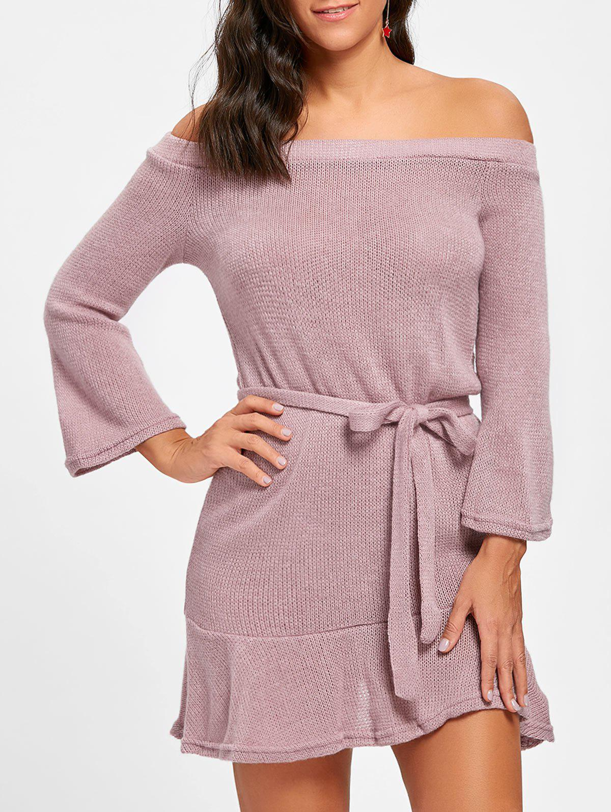 Best Off The Shoulder Knitted Short Dress
