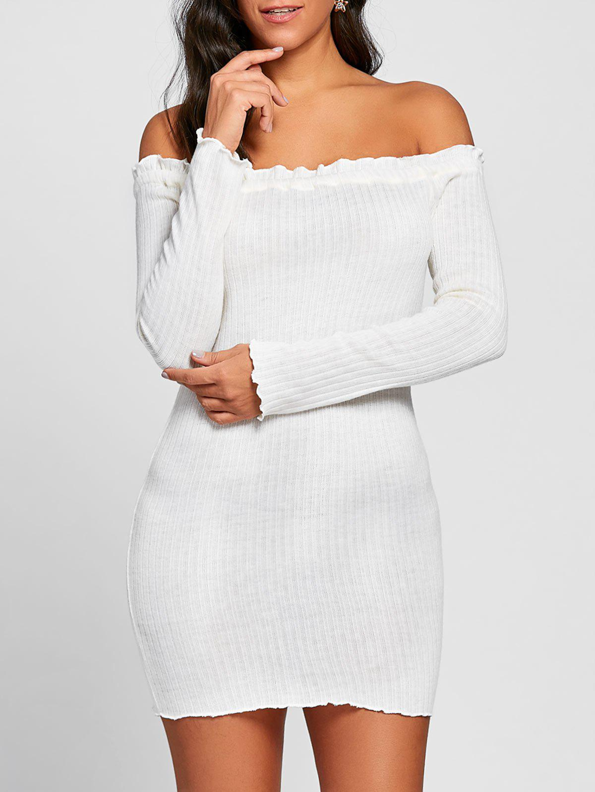 Fashion Ribbed Off The Shoulder Mini Dress