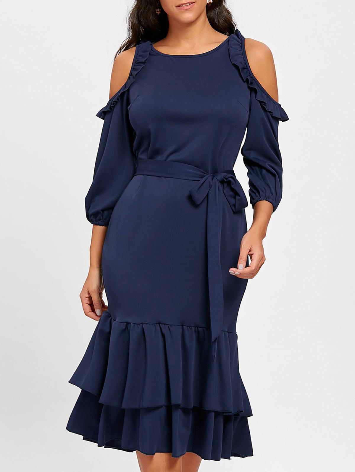 Cheap Cold Shoulder Ruffles Belted Midi Dress