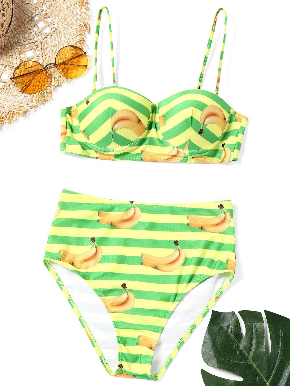 Shops Striped Banana Print Bikini Swimwear