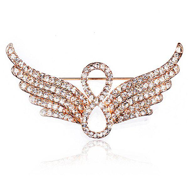Rhinestoned Infinite Angel Wings BroochJEWELRY<br><br>Color: GOLDEN; Brooch Type: Brooch; Gender: For Women; Material: Rhinestone; Style: Trendy; Shape/Pattern: Wing; Length: 5.2CM; Weight: 0.0300kg; Package Contents: 1 x Brooch;