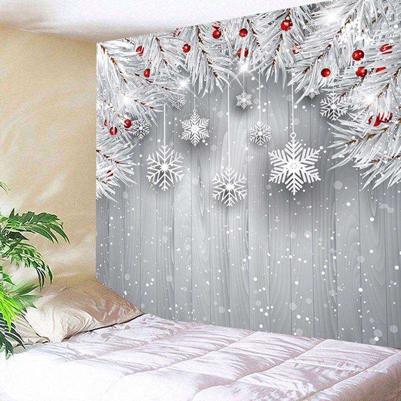 Wall Hanging Christmas Snowflake Printed TapestryHOME<br><br>Size: W79 INCH * L59 INCH; Color: SILVER GRAY; Style: Festival; Theme: Christmas; Material: Cotton,Polyester; Feature: Removable,Washable; Shape/Pattern: Plant; Weight: 0.3100kg; Package Contents: 1 x Tapestry;