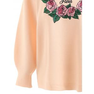 Floral Letter Embroidered Plus Size Sweater -