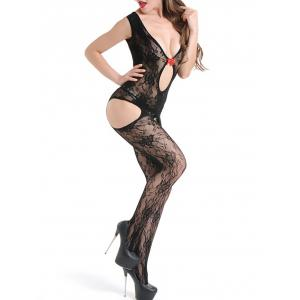 Open Crotch Plunge Neck Suspender Bodystockings -