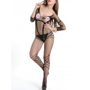 Open Back Fishnet Bodystockings with Sleeves -