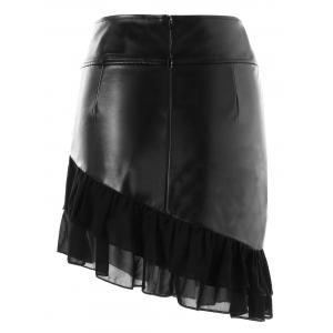 Zipper Flounce Panel Faux Leather Skirt -