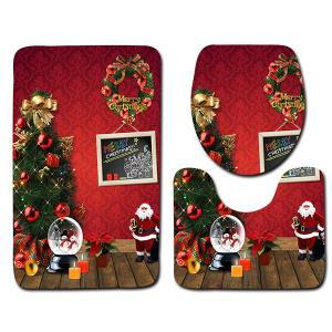 3Pcs Christmas Theme Printed Flannel Bath Toilet Rugs Set -