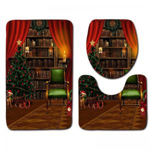 Flannel Christmas Theme Graphic 3PCS Bath Toilet Rugs Set -