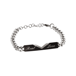 Bracelet de couples en acier titane Vintage Love True Carving -