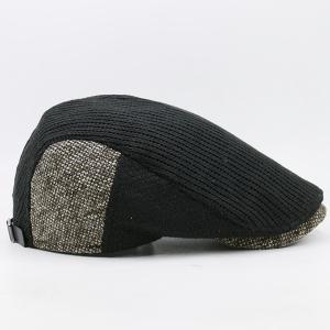 Outdoor Letter Label Pattern Knitted Newsboy Hat -