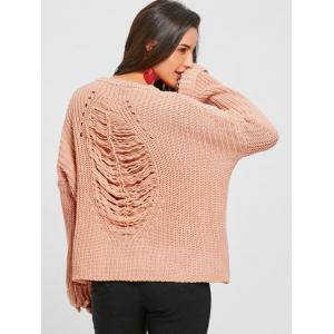 Light Pink One Size Crew Neck Drop Shoulder Ripped Chunky ...