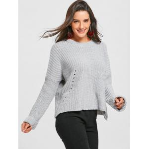 Light Gray One Size Crew Neck Drop Shoulder Ripped Chunky ...