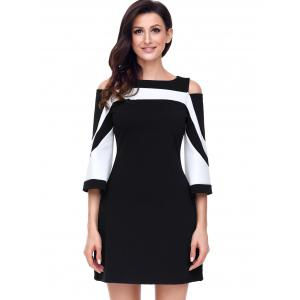 Cold Shoulder Two Tone A-line Dress -