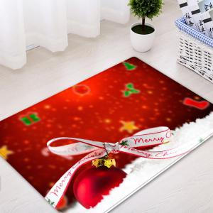 Christmas Bowknot Ball Pattern Anti-skid Water Absorption Area Rug -