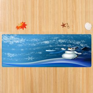 Christmas Snowman Snowflakes Pattern Anti-skid Water Absorption Area Rug -