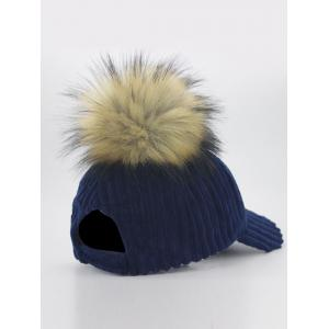 Outdoor Removable Fuzzy Ball Embellished Corduroy Baseball Hat -