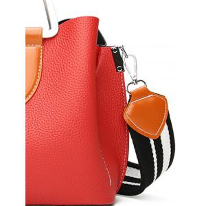 Stitching Faux Leather Contrasting Color Handbag -