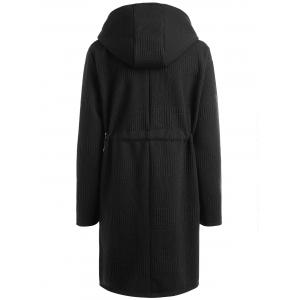 Plus Size Drawstring Waist Longline Hooded Coat -