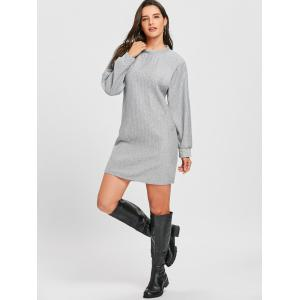 Ribbed Mini Sweatshirt Dress -