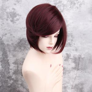 Inclined Bang Short Straight Synthetic Wig -