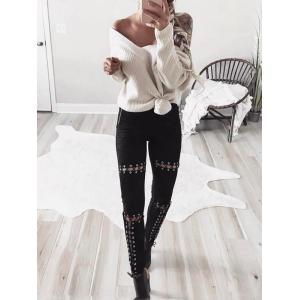 Faux Suede Lace Up Skinny Pants -